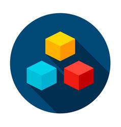 3d cube circle icon vector