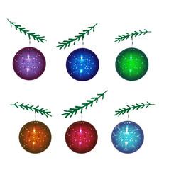a set of christmas balls new year vector image
