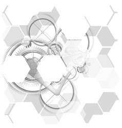 Abstract hexagonal technology gear background vector
