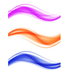 Abstract soft elegant wavy lines set vector