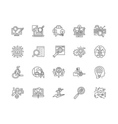analysis line icons signs set outline vector image