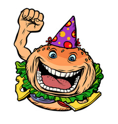 birthday fast food burger vector image