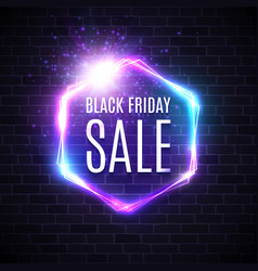 black friday sale design with neon light frame vector image