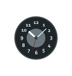Black wall clock icon flat style vector image