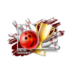 bowling game award bowling ball with and white vector image