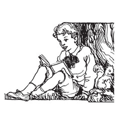 Boy reading by a tree summer vintage engraving vector