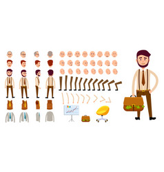 businessman character creation set cartoon design vector image