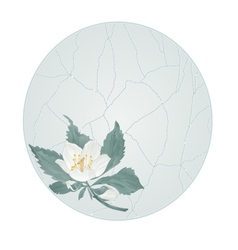 Button circle spring flower jasmine cracks vector