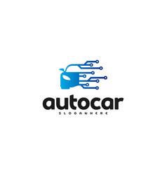 car tech logo template design auto car logo tech vector image