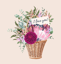 Card with wedding bouquet in basket vector