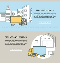Cargo and storage horizontal banner templates vector