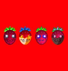 Cartoon bright fruit emoji characters vector