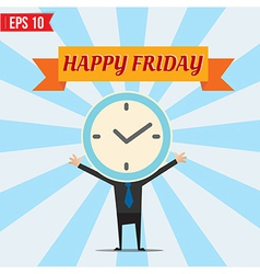 Cartoon Businessman happy friday - - EPS10 vector