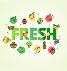 cartoon fresh vegetable and fruit concept card vector image
