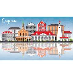 Cayenne Skyline with Color Buildings vector image