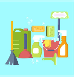 cleaning equipment in flat design vector image