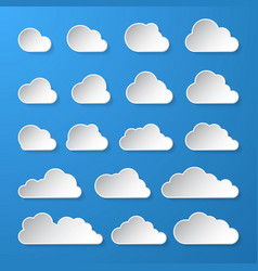 Cloud abstract white cloudy set isolated on blue vector