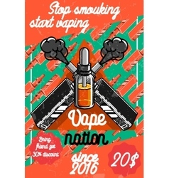 Color vintage vape e-cigarette poster vector