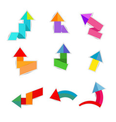 colorful paper arrow on white background vector image