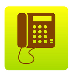 communication or phone sign brown icon at vector image