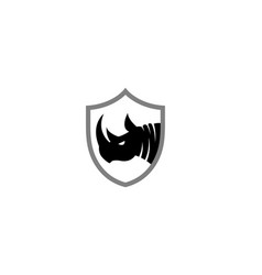 creative black rhinoceros logo design symbol vector image