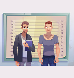 criminal and lawyer on measuring height scale vector image