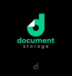 Document logo monogram letter d bended corner vector