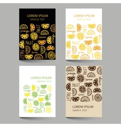 Document template with fruit citrus pattern vector