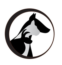 dog cat and bunny silhouettes logo vector image
