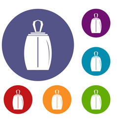 Elegant woman perfume bottle icons set vector