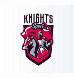 emblem logo sticker knight with flag on vector image