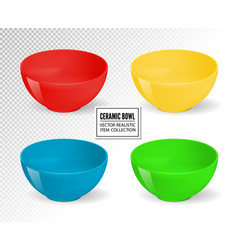 Empty realistic food bowls ceramic kitchen vector