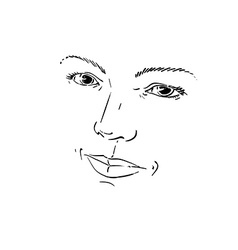 Facial expression hand-drawn of face of romantic g vector image