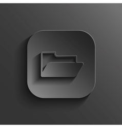 Folder icon - black app button vector image