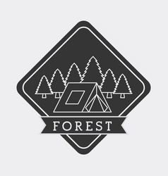 Forest camp tent mountain pine tree natural stamp vector