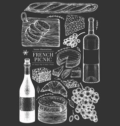 french food set hand drawn picnic meal on chalk vector image