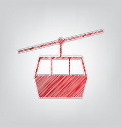Funicular cable car sign red gradient scribble vector