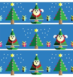 Geometric xmas pattern male and female elf vector