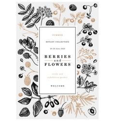 Hand drawn berries design in vintage style wild vector