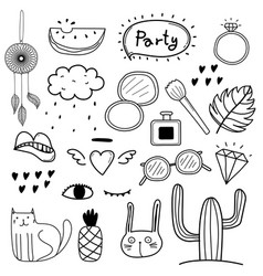 Hand drawn doodle party set vector