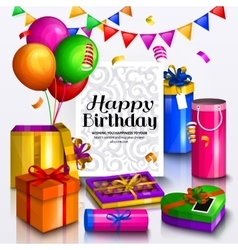 Happy birthday greeting card pile colorful vector