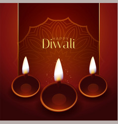 Happy diwali traditional festival greeting design vector
