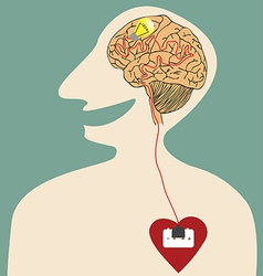Heart Brain and Idea connected with power plug vector image