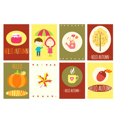 hello autumn set of banners vector image