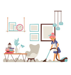 housewife cleaning apartment vector image