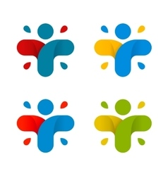 Isolated abstract colorful cross logo set human vector