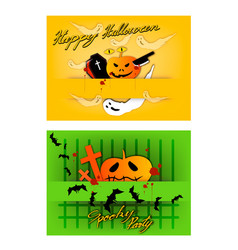Jack-o-lanterns and evils on halloween party backg vector