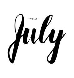 july lettering print summer vector image