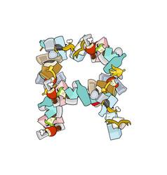 letter r rubbish trash font garbage alphabet vector image