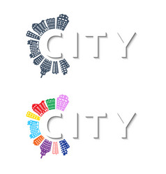 Logo with buildings and city abstract background vector